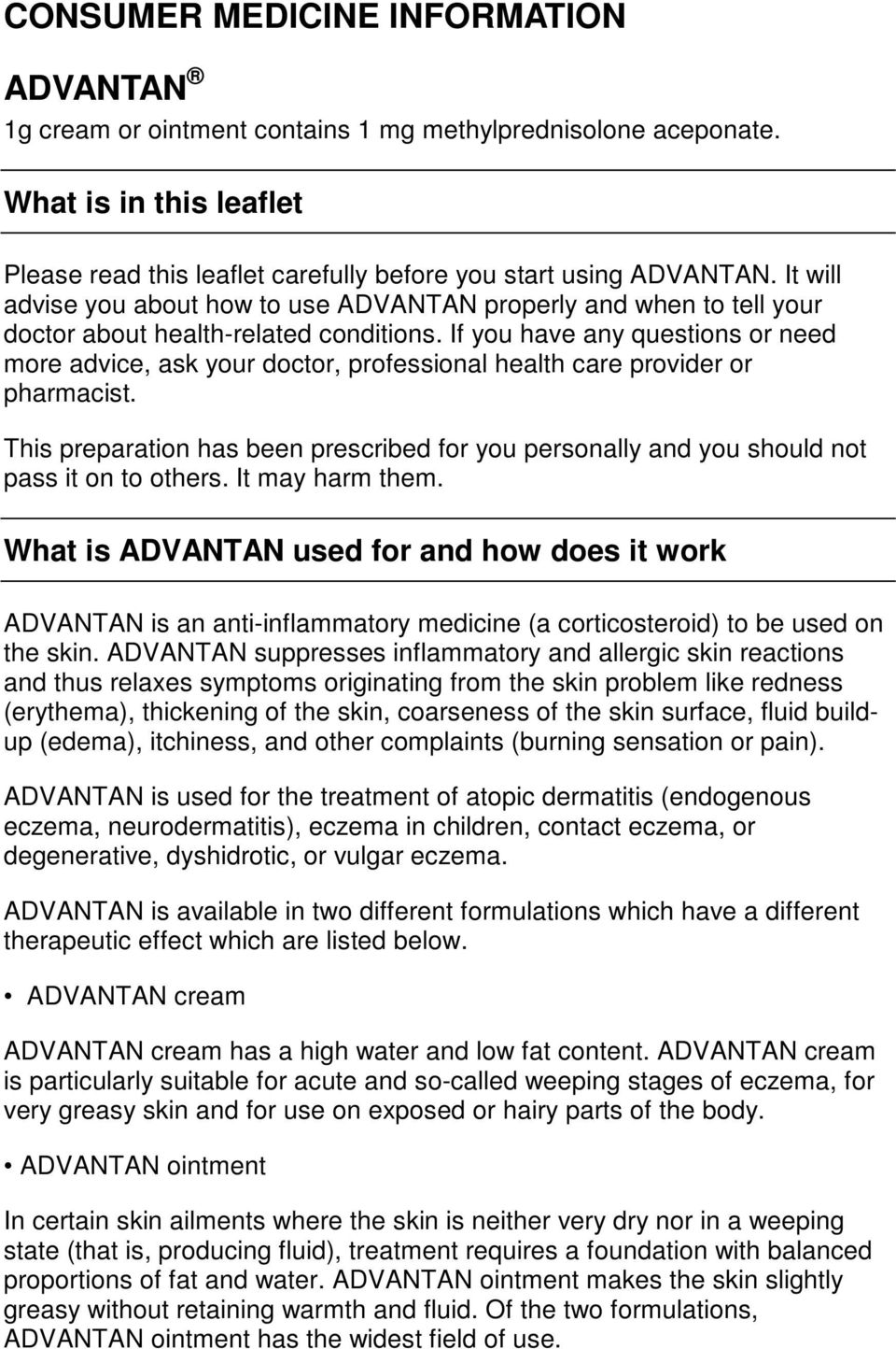 The drug Advantan: instructions, references, recommendations