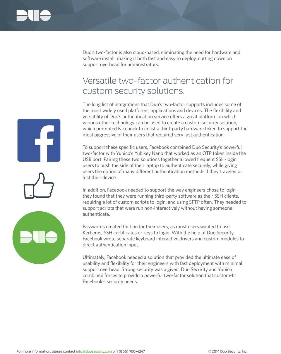 Facebook s Security Philosophy, and how Duo helps  - PDF