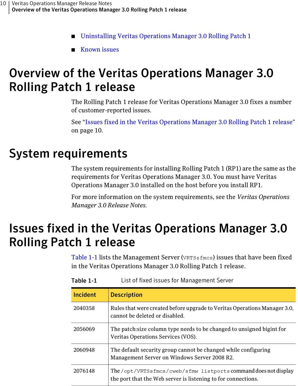 0 fixes a number of customer-reported issues. See Issues fixed in the Veritas Operations Manager 3.0 Rolling Patch 1 release on page 10.