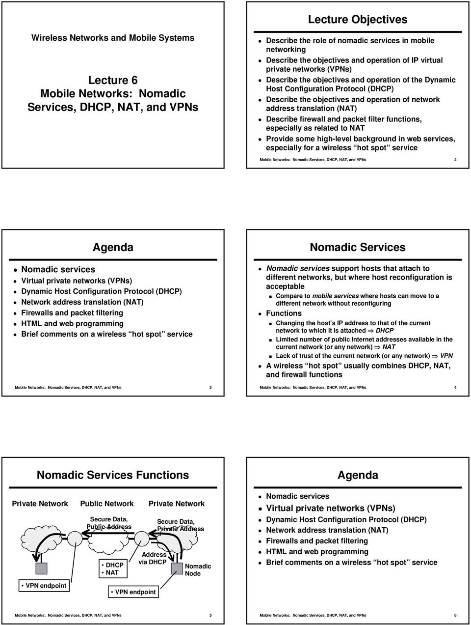 Lecture Objectives  Lecture 6 Mobile Networks: Nomadic Services