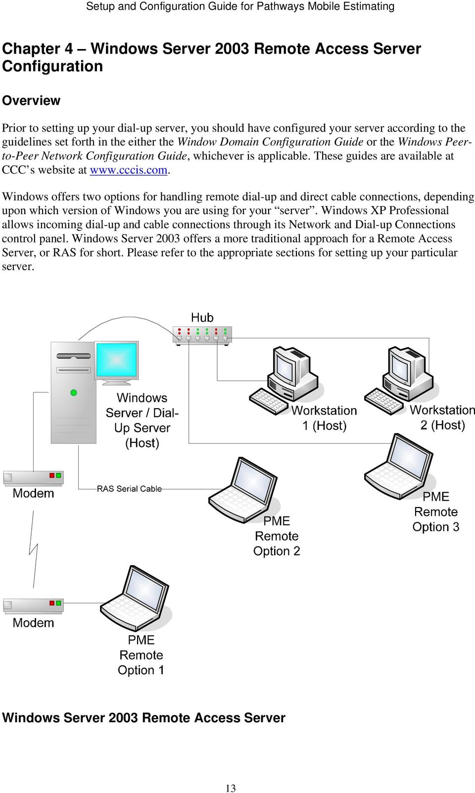 Windows offers two options for handling remote dial-up and direct cable connections, depending upon which version of Windows you are using for your server.