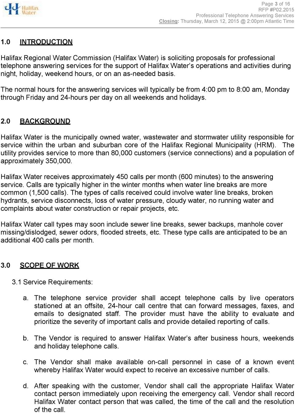 REQUEST FOR PROPOSAL P PROFESSIONAL TELEPHONE ANSWERING SERVICES - PDF