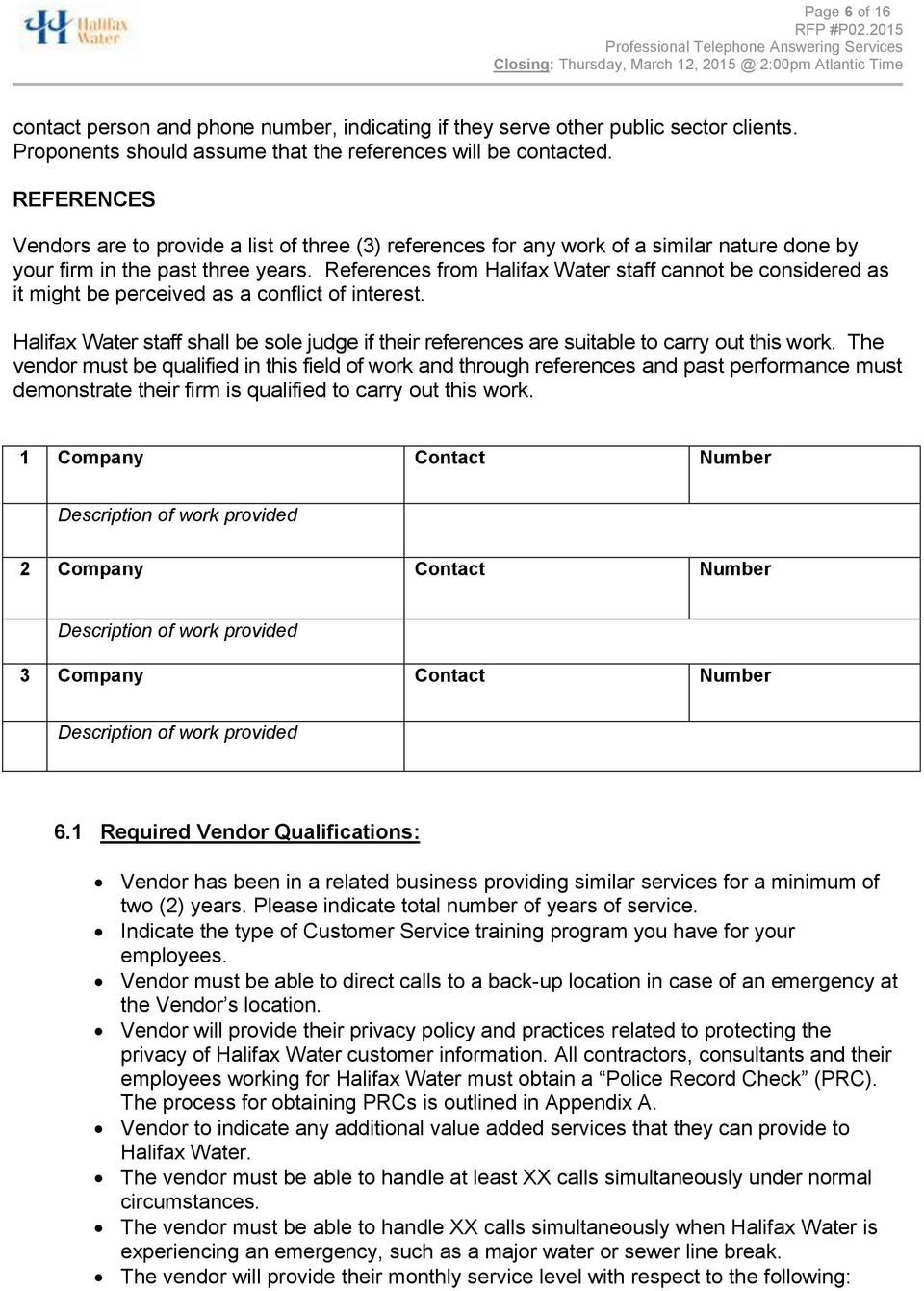 REQUEST FOR PROPOSAL P PROFESSIONAL TELEPHONE ANSWERING