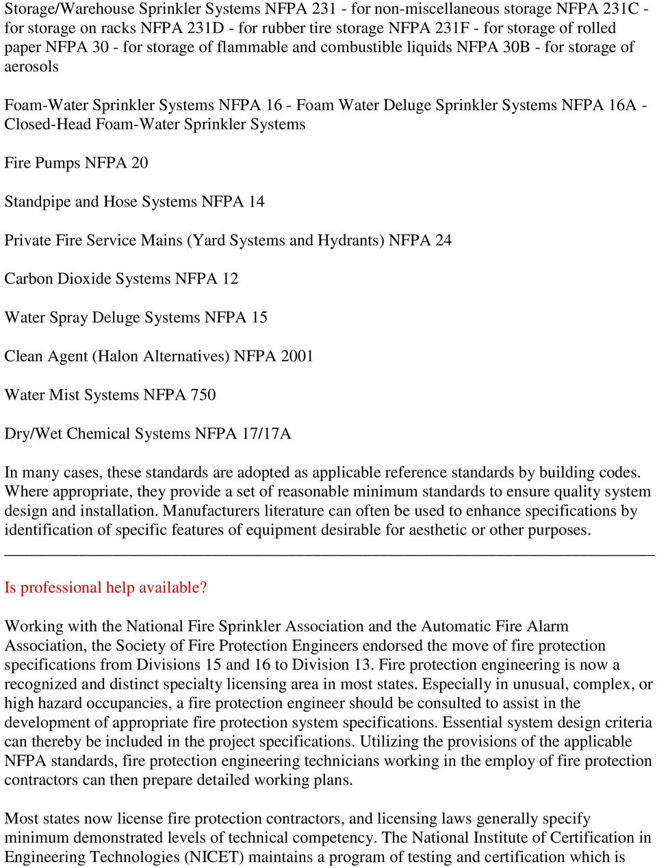 F Y I  Specifying Fire Protection Systems Using Division 13 - PDF