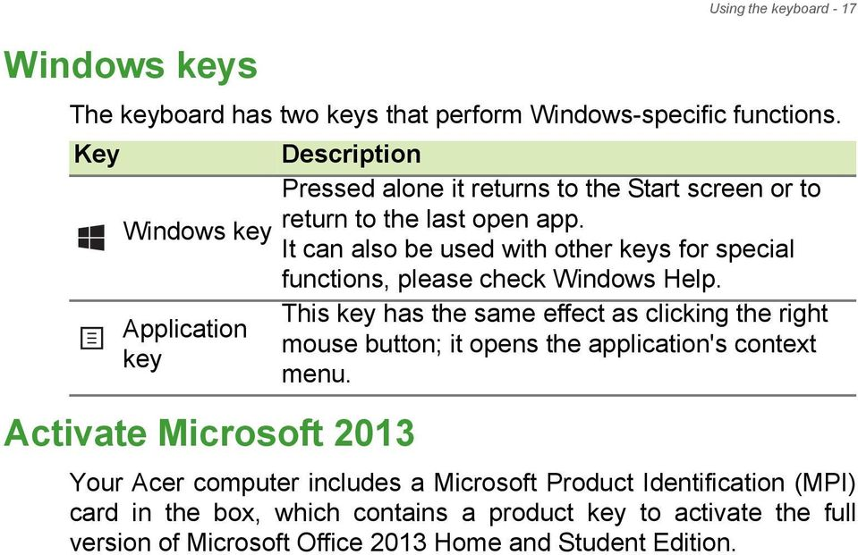 It can also be used with other keys for special functions, please check Windows Help.