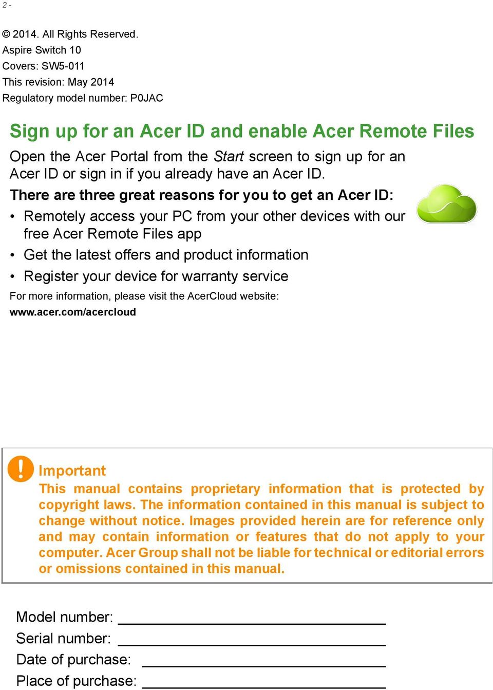 an Acer ID or sign in if you already have an Acer ID.