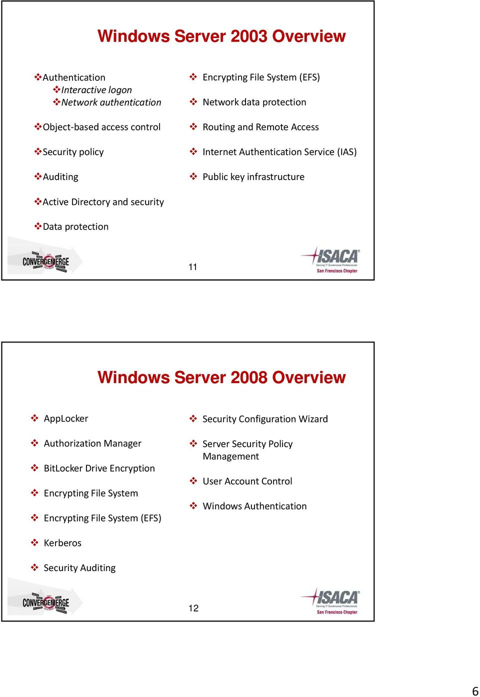 security Data protection 11 Windows Server 2008 Overview AppLocker  Authorization Manager BitLocker Drive Encryption Encrypting File