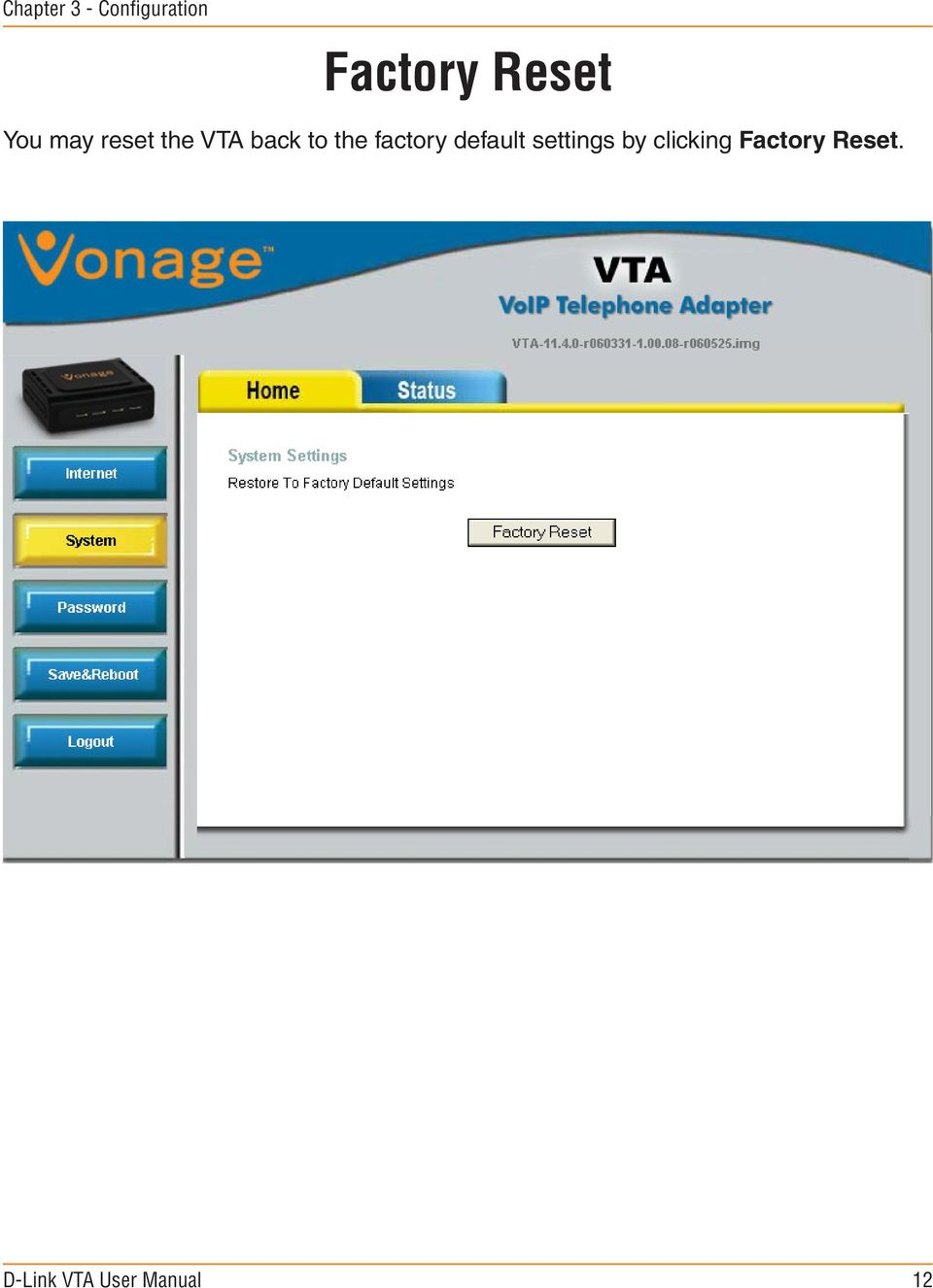 VTA back to the factory default