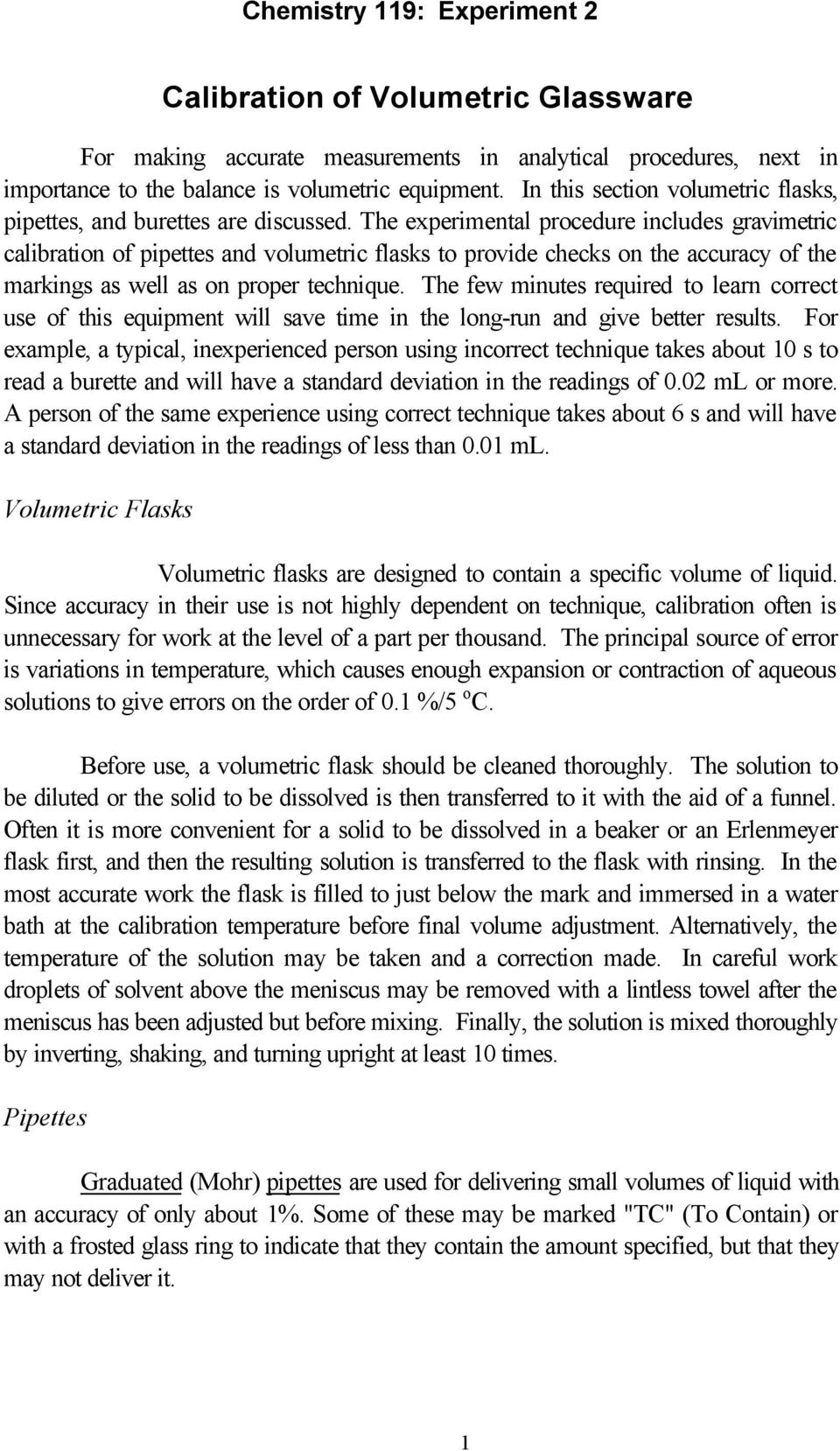 Calibration of Volumetric Glassware - PDF