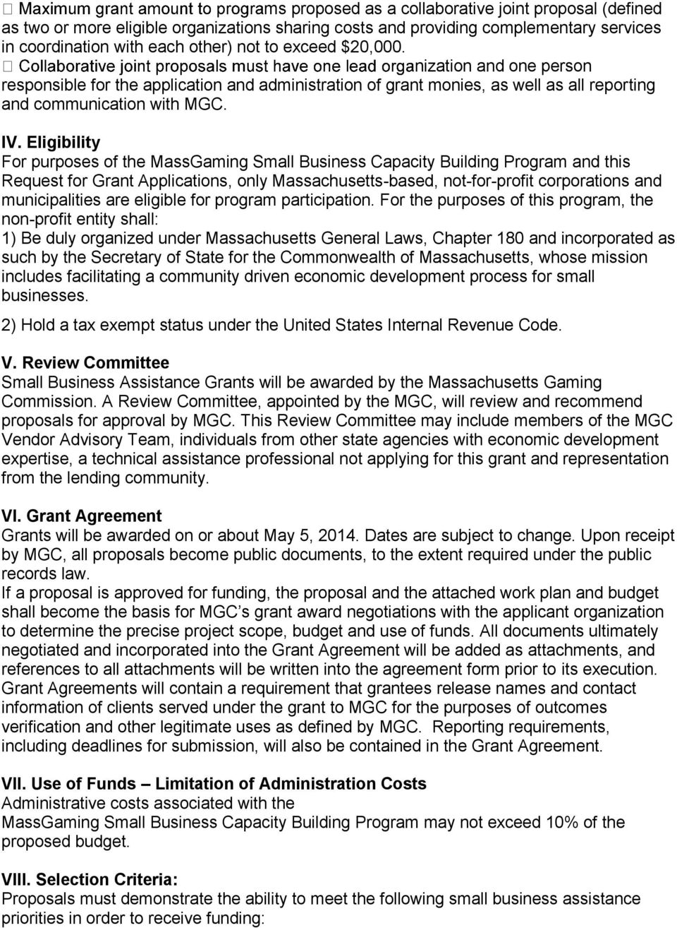 RFP File Name: MassGaming Small Business Capacity Building