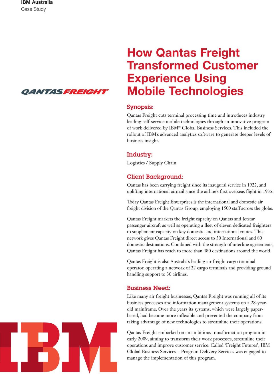 How Qantas Freight Transformed Customer Experience Using