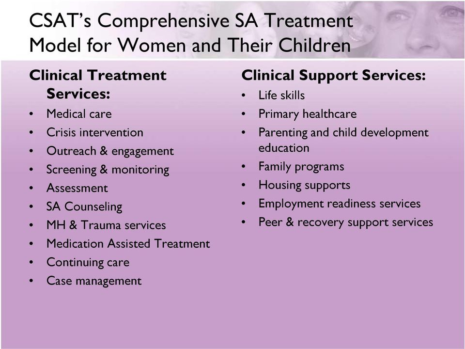 Assisted Treatment Continuing care Case management Clinical Support Services: Life skills Primary healthcare Parenting