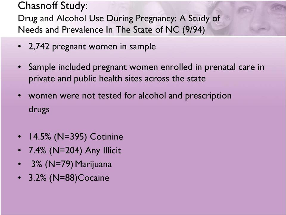 prenatal care in private and public health sites across the state women were not tested for