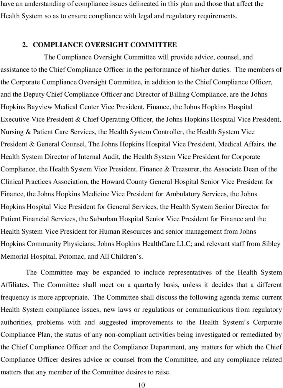 THE JOHNS HOPKINS HEALTH SYSTEM CORPORATION CORPORATE COMPLIANCE