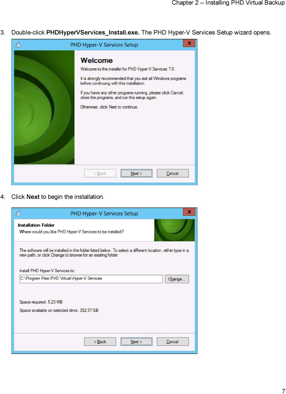 The PHD Hyper-V Services Setup wizard opens.