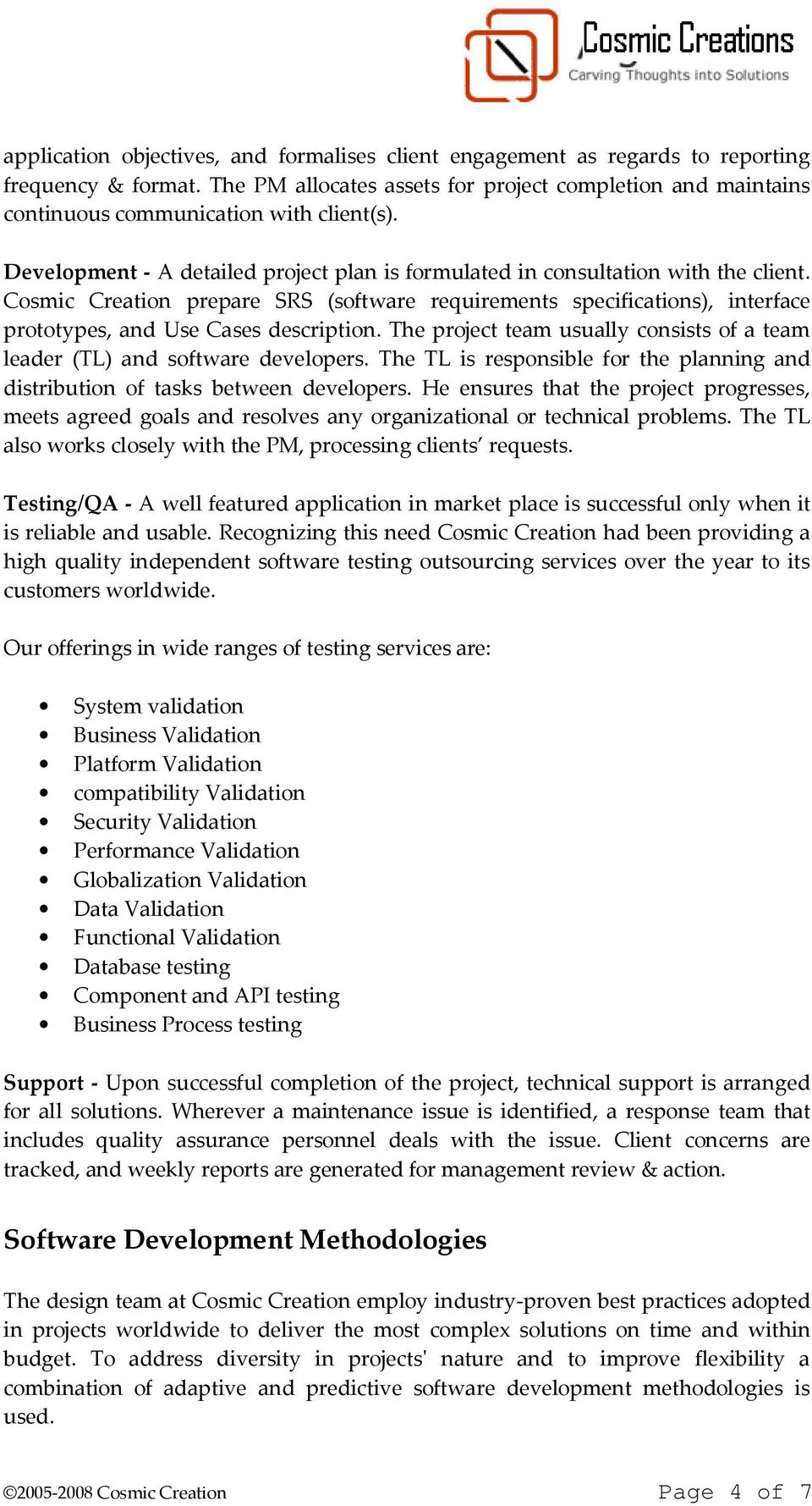 Executive Summary  Within IT Services, Cosmic Creation