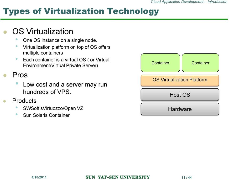Virtual Environment/Virtual Private Server) Pros Low cost and a server may run hundreds of VPS.