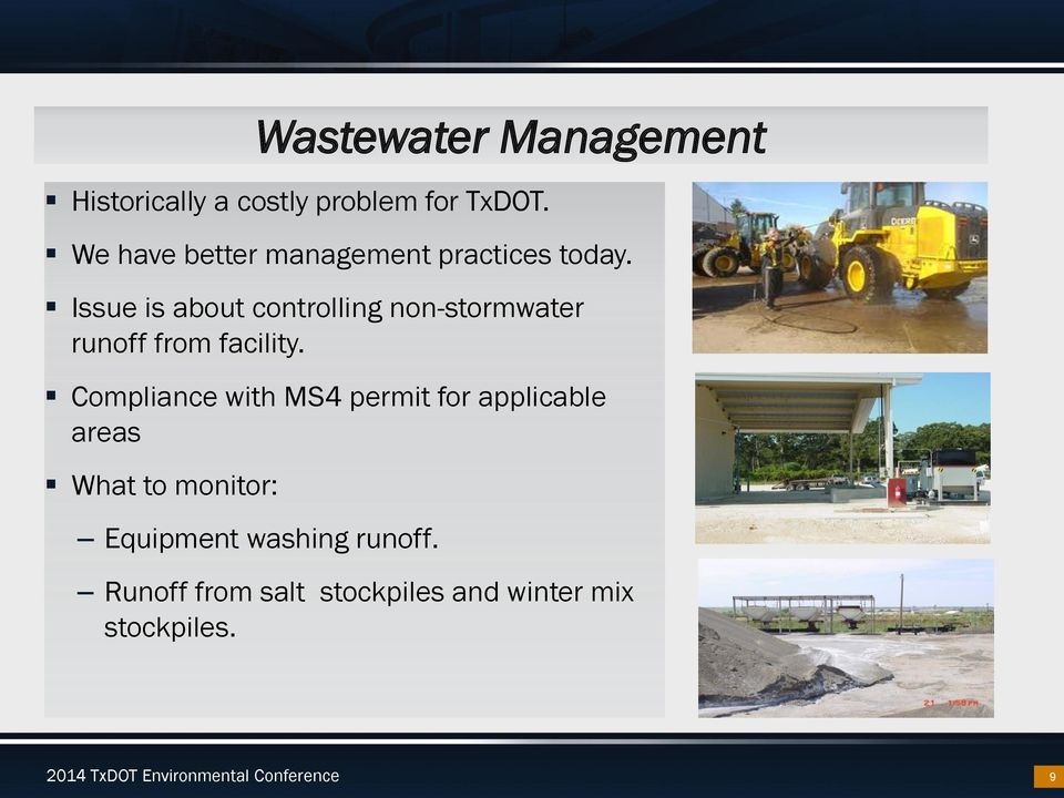 Issue is about controlling non-stormwater runoff from facility.