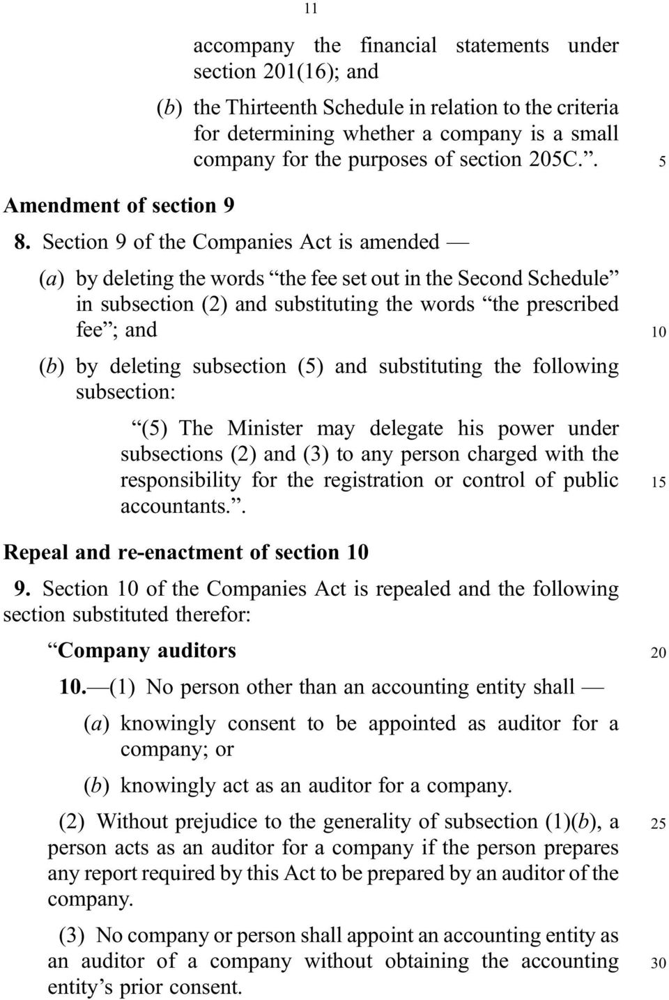 Section 9 of the Companies Act is amended (a) by deleting the words the fee set out in the Second Schedule in subsection (2) and substituting the words the prescribed fee ; and (b) by deleting