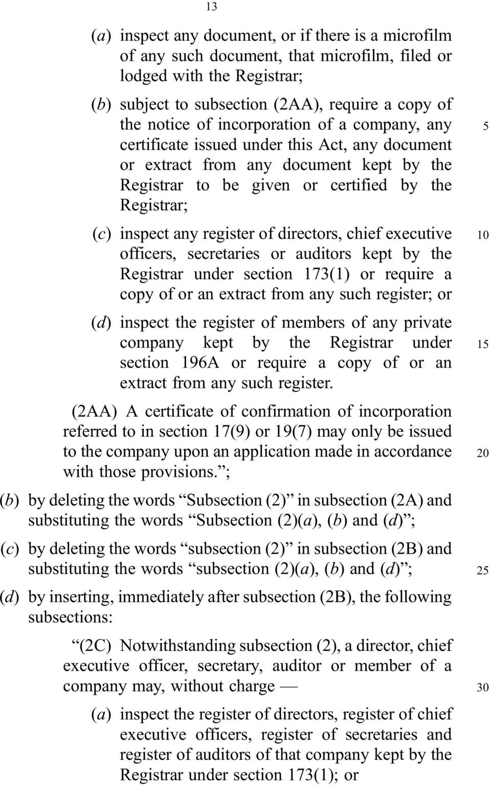 of directors, chief executive officers, secretaries or auditors kept by the Registrar under section 173(1) or require a copy of or an extract from any such register; or (d) inspect the register of