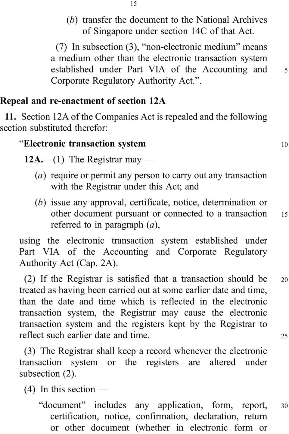 . Repeal and re enactment of section 12A 11. Section 12A of the Companies Act is repealed and the following section substituted therefor: Electronic transaction system 12A.
