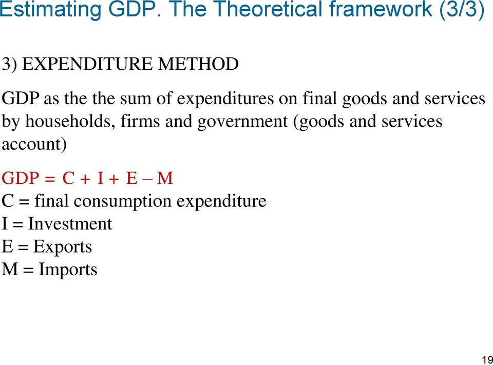 of expenditures on final goods and services by households, firms and