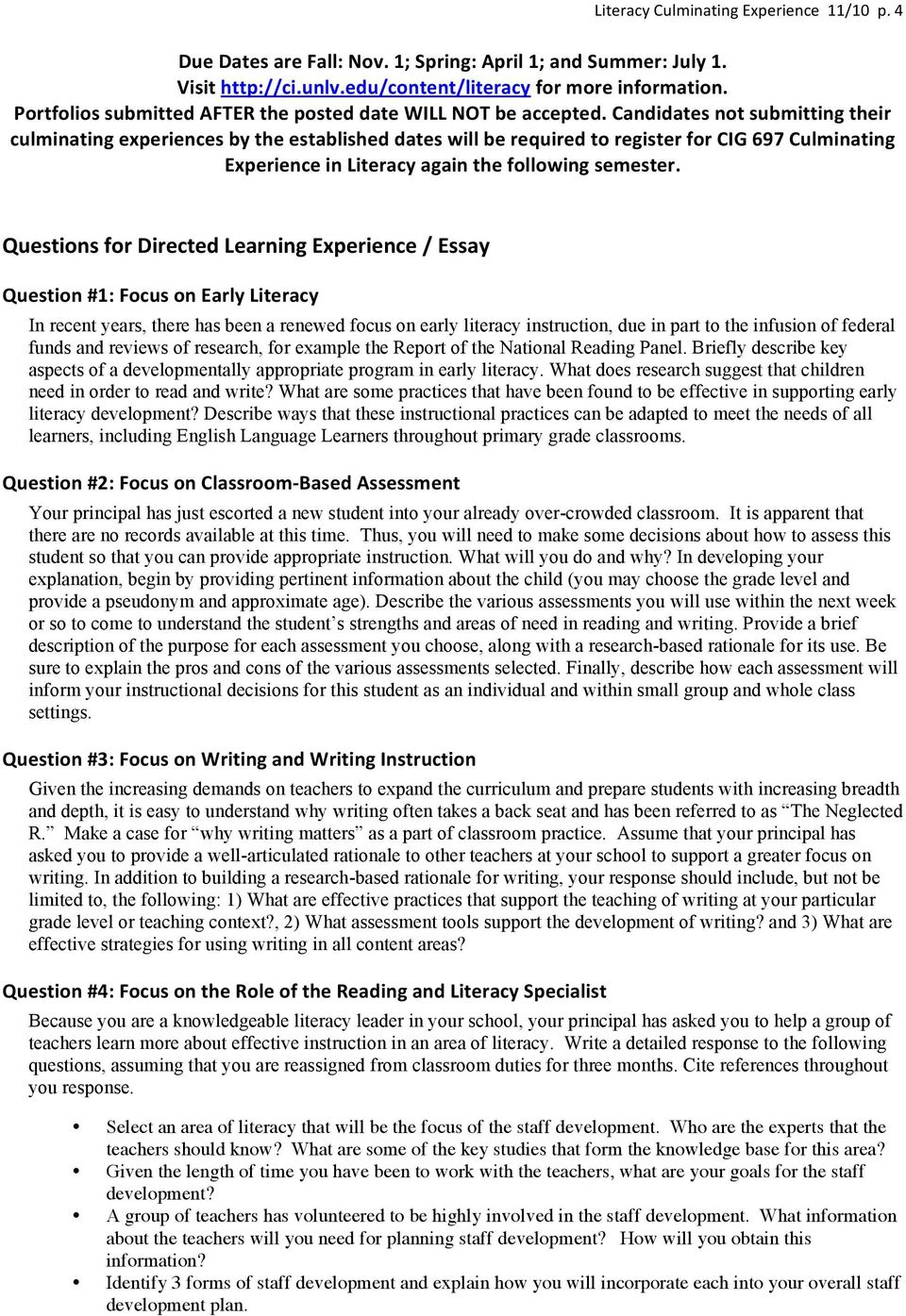 Essay Of Newspaper Candidates Not Submitting Their Culminating Experiences By The Established  Dates Will Be Required To Register For Science Essay Examples also What Is A Thesis Statement In An Essay Examples Purposes For The Culminating Experience General Guidelines  Pdf Modest Proposal Essay Examples