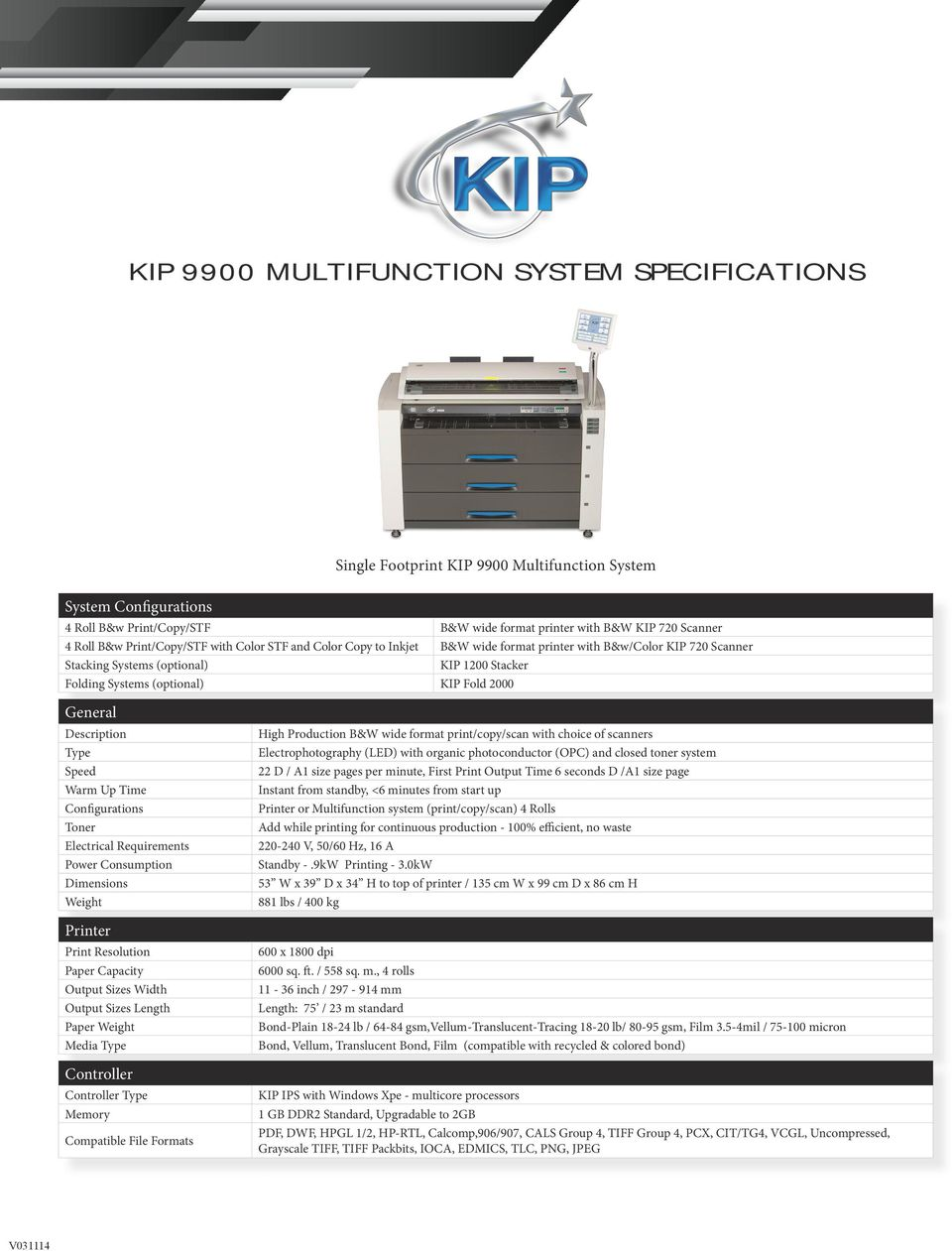 KIP 9900 PRINT SYSTEM SPECIFICATIONS - PDF