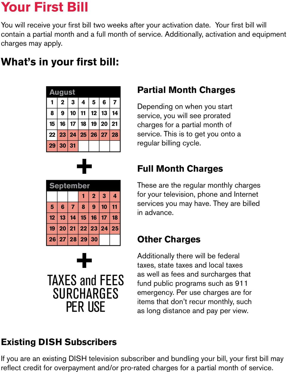 What s in your first bill: August Partial Month Charges 1 8 15 22 29 2 9 16 23 30 3 10 17 24 31 4 11 18 25 5 12 19 26 6 13 20 27 7 14 21 28 Depending on when you start service, you will see prorated