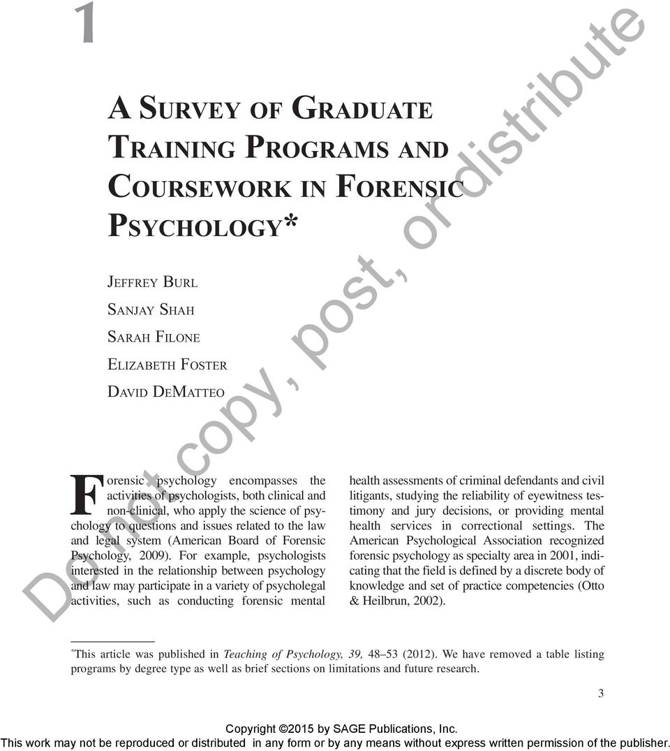 do not copy, post, or distribute. forensic psychology encompasses