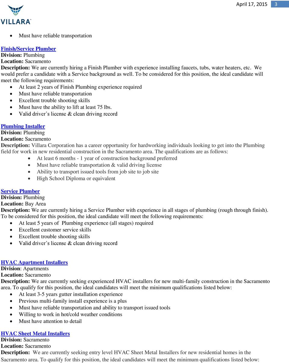 Featured Position  Current Open Positions Please contact the