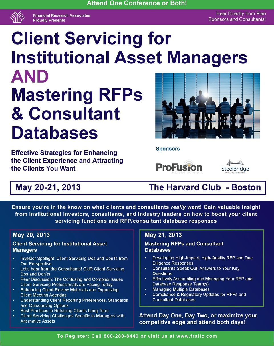 Client Servicing for Institutional Asset Managers AND Mastering RFPs
