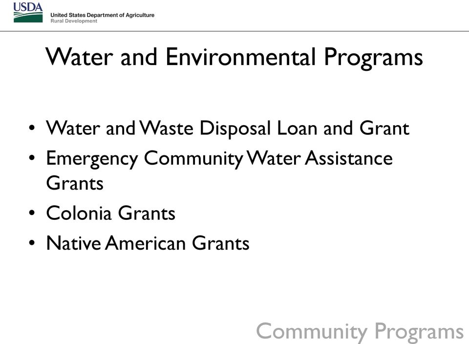 Community Water Assistance Grants Colonia