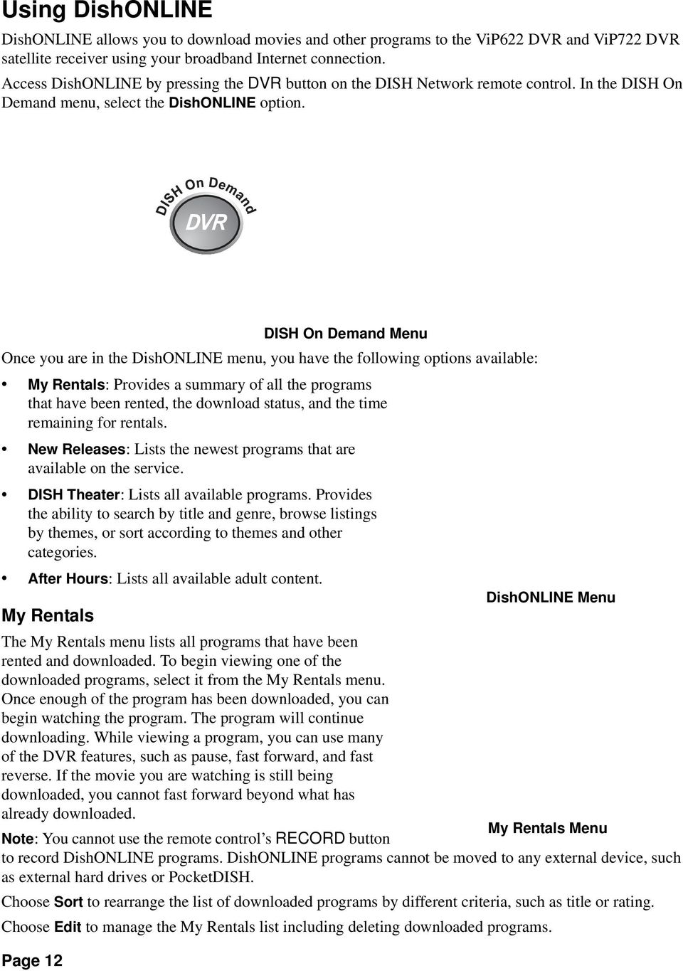 Home Network Installation Instructions Pdf Vip 722 Wiring Diagram Page 12 Dish On Demand Menu Once You Are In The Dishonline Have