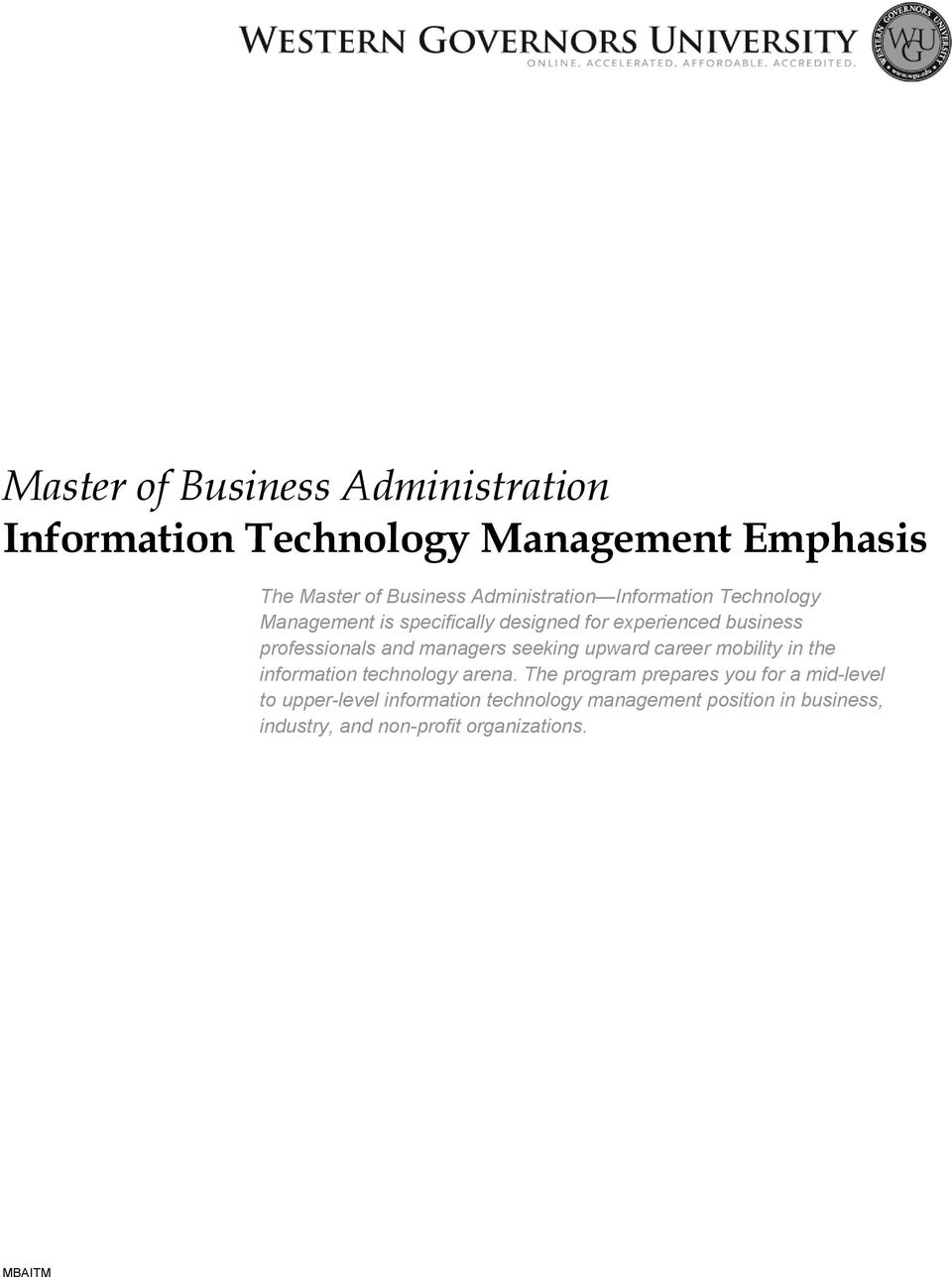 Master of Business Administration Information Technology