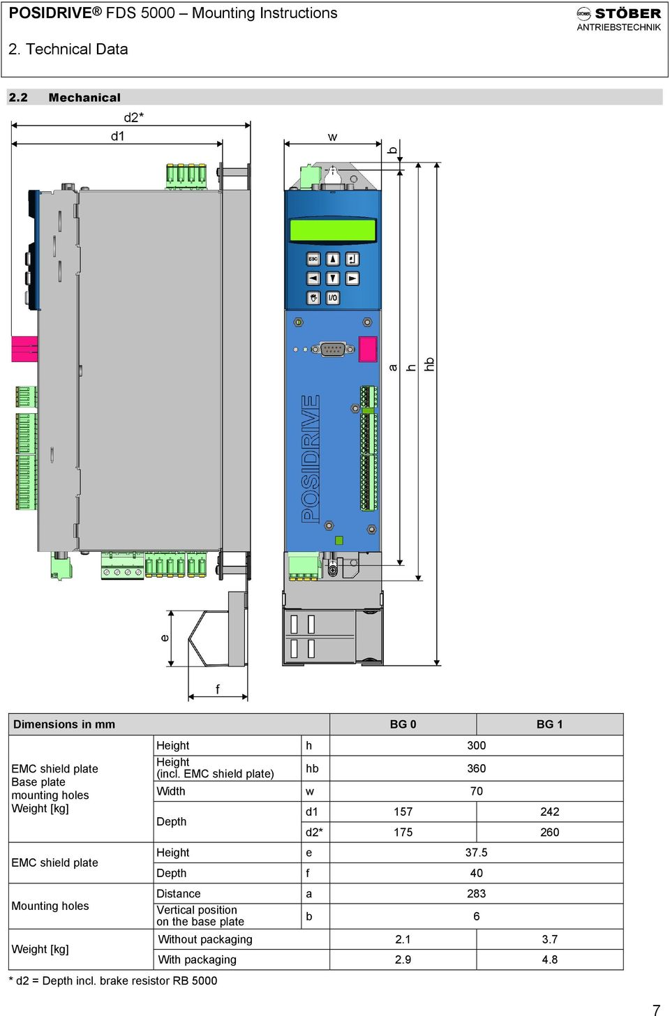 Posidrive Fds 5000 Mounting Instructions Pdf Uvw Ametek 9 Wire Motor Diagram Shield Plate Holes Weight Kg Height H 00 Incl