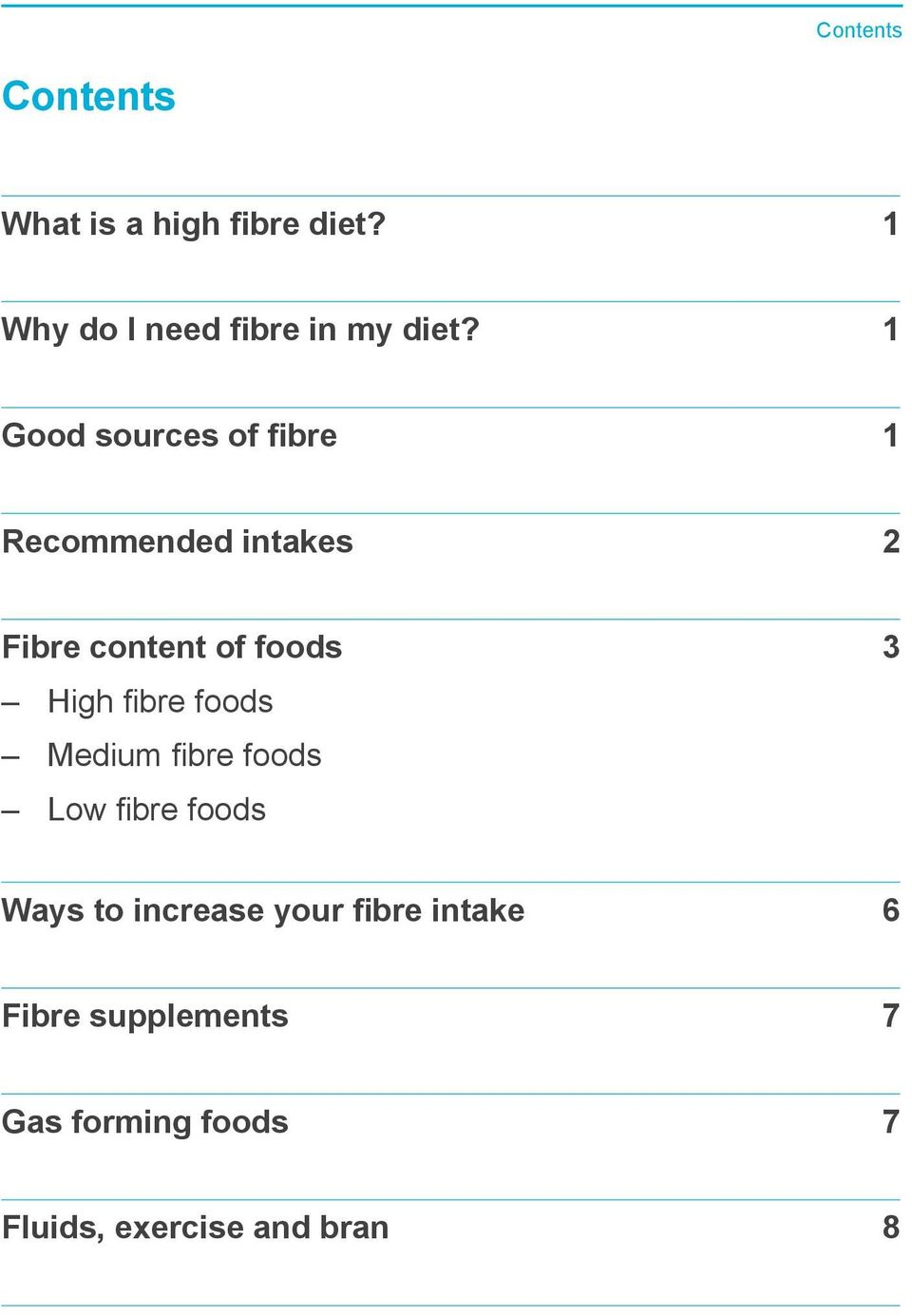 1 Good sources of fibre 1 Recommended intakes 2 Fibre content of foods High
