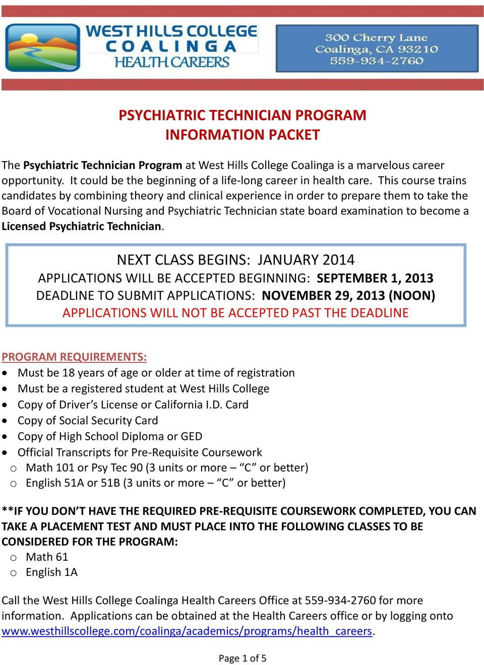 Psychiatric Technician Program Information Packet Pdf