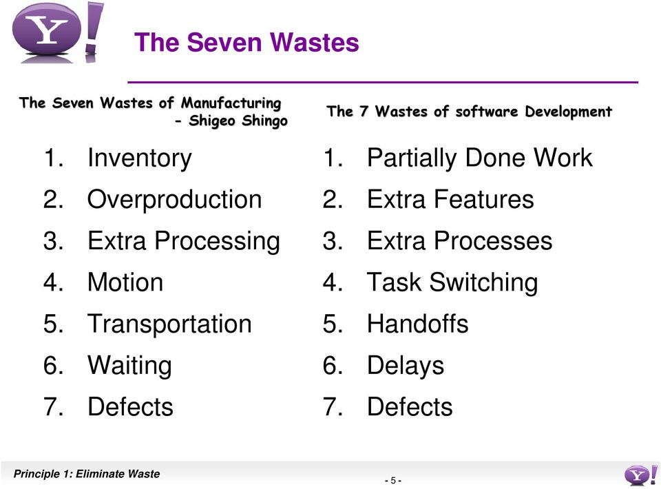 Defects The 7 Wastes of software Development 1. Partially Done Work 2. Extra Features 3.