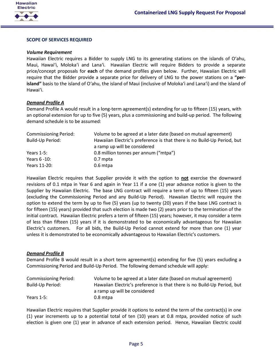 CONTAINERIZED LNG SUPPLY TO HAWAIʻI REQUEST FOR PROPOSALS - PDF