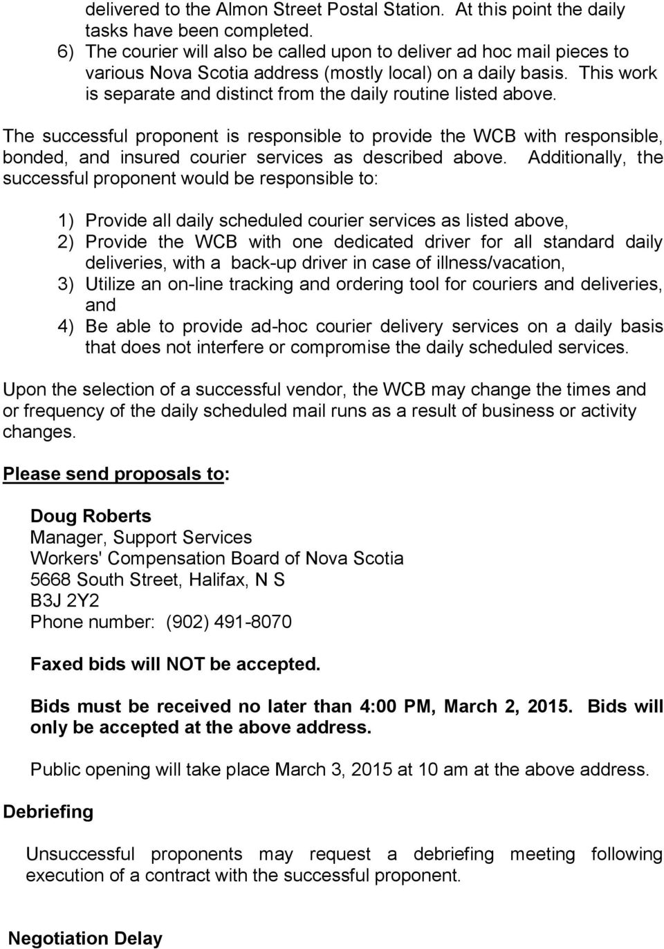 Workers' Compensation Board of NS Daily Local Courier Services