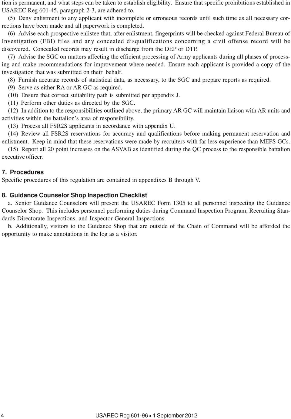 Enlistment accessions and processing procedures pdf 4 usarec reg september 2012 6 advise each prospective enlistee that after enlistment fingerprints will be checked fandeluxe Image collections