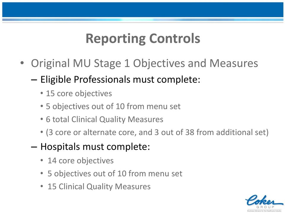 Measures (3 core or alternate core, and 3 out of 38 from additional set) Hospitals must