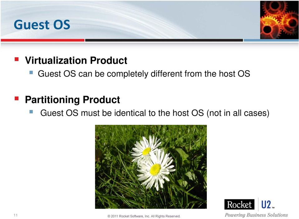 OS Partitioning Product Guest OS must be