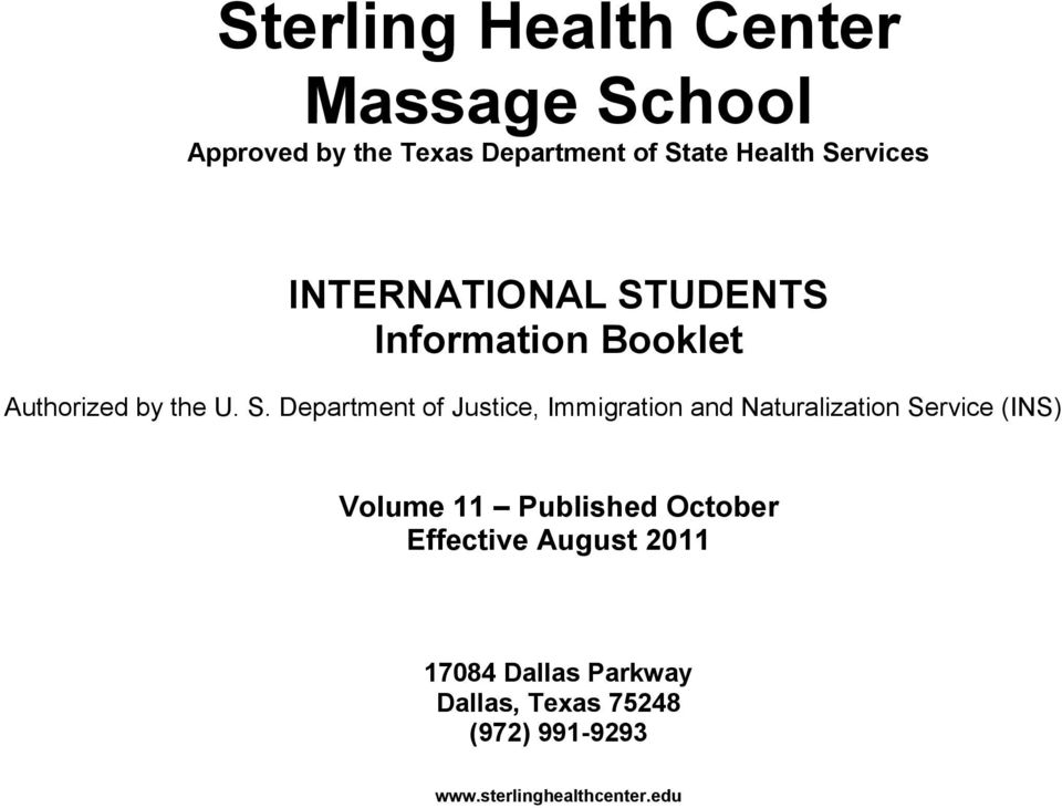UDENTS Information Booklet Authorized by the U. S.