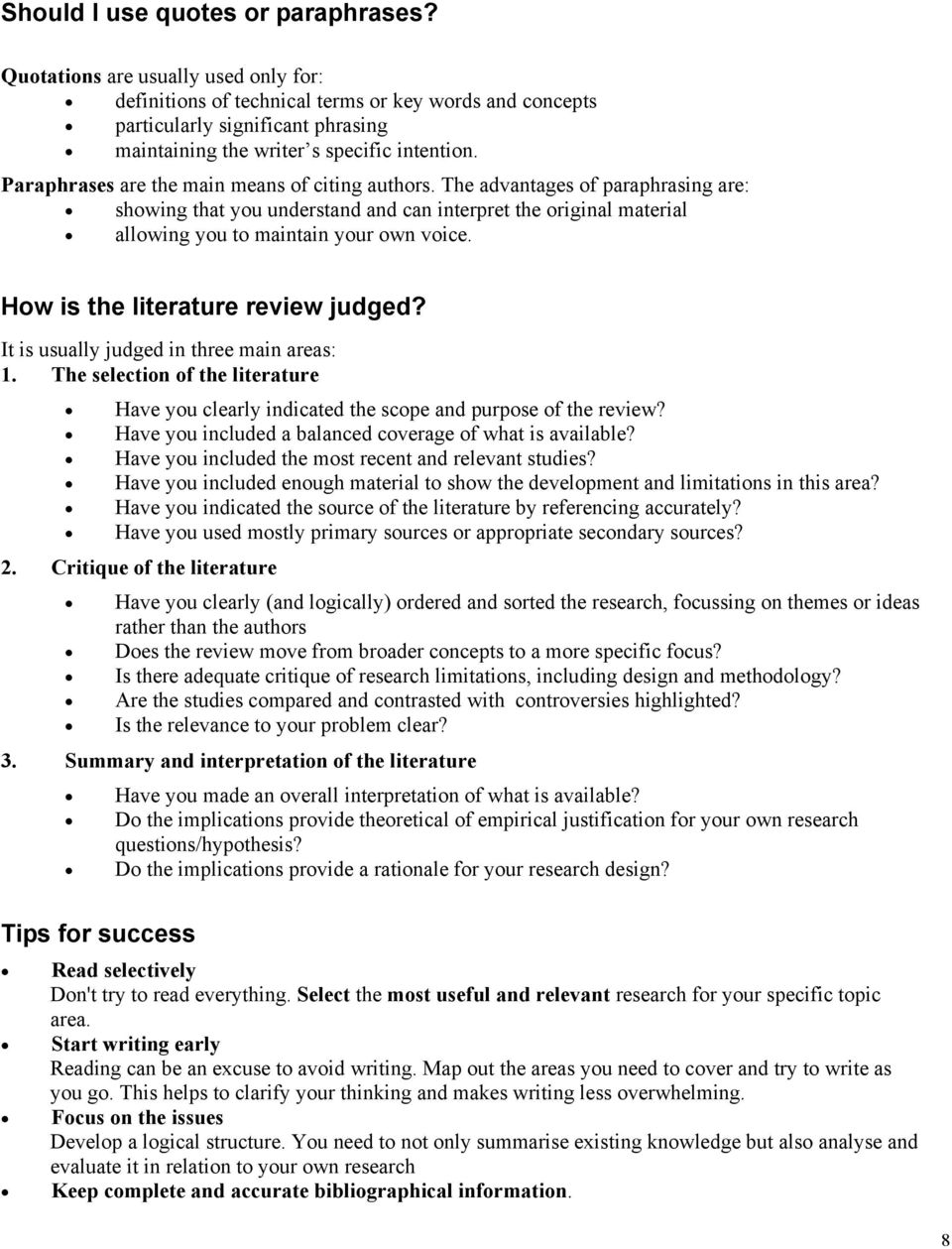 Writing The Literature Review / Using The Literature - PDF Free Download