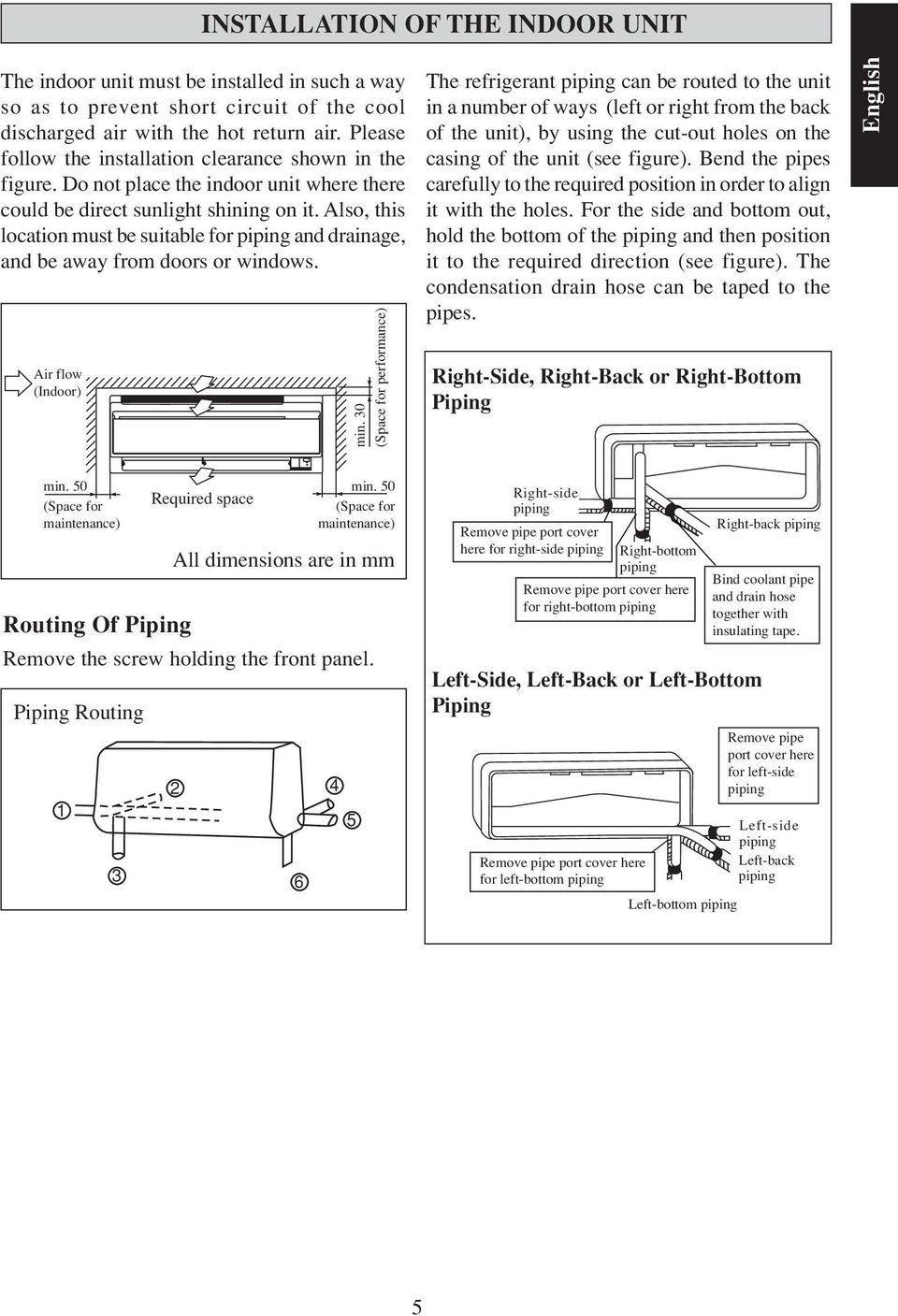 Wall Mounted Split Type Air Conditioner J Series Pdf Piping Diagram Refrigeration Also This Location Must Be Suitable For And Drainage Away From