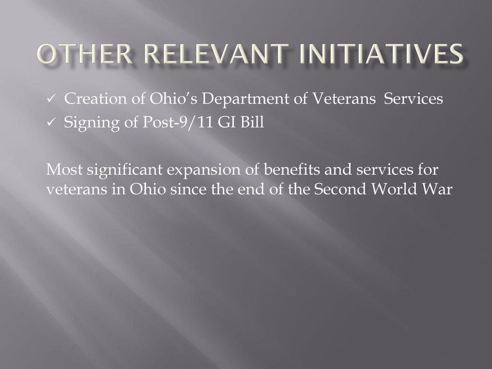 significant expansion of benefits and services