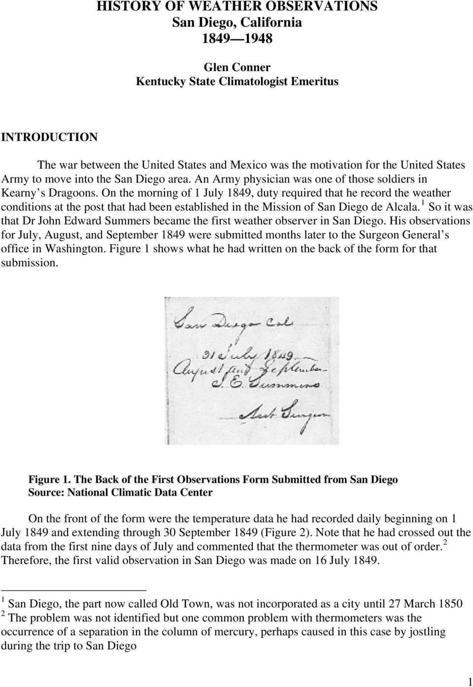 HISTORY OF WEATHER OBSERVATIONS SAN DIEGO, CALIFORNIA - PDF
