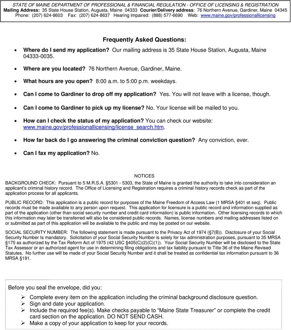 state of maine board of social worker licensure application for